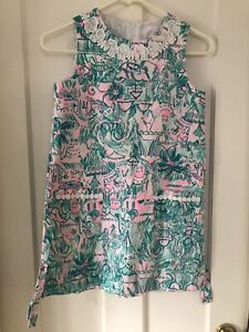 Lilly Pulitzer Girls size 10 Shift Dress w/pink  and teal circus print