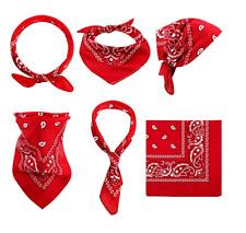 (Pack of 6) Red Paisley Cowboy Bandanas Headband Face Shield Neck Gaiter Wrap
