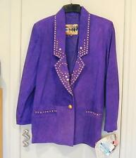 Ladies Purple Atlantic Beach Leather Button Jacket Coat Gold Studded S NWT