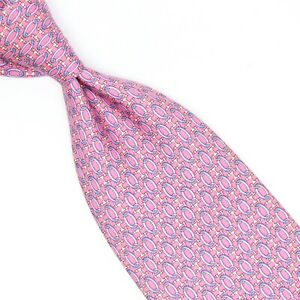 Brooks Brothers Mens Silk Necktie Pink Light Blue White Geometric Print Tie USA