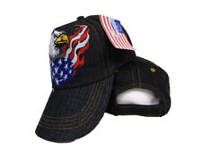 USA American Bald Eagle Flaming Flag Wings Embroidered Cap Hat