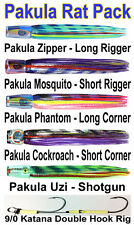 Pakula Rat Pack. Black Marlin Lure Spread. Rigged with SS Dojo Hooks + Lure Bag