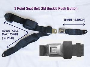 3 Point Lap & Shoulder Seat Belts GM Buckle Push Button 7-12 Days Arrive