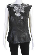 Jiki Womens Sheer Lace Trim Sleeveless Leather Blouse Black Size IT 42
