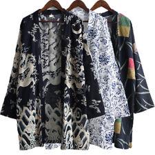 Mens Japanese Style Kimono Yukata Cardigan Coat Loose Beach Jacket Outwear Shirt