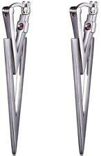 ELLE Jewelry - Sterling Silver Dual Triangle Modern Designer Hoop Earrings
