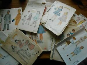 Lot of 17 Vintage Children's Sewing Patterns 1940s 1950s 1960s