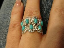 EVINE-Gem Insider Multi Topaz & Sleeping Beauty Turquoise Sterling Silver Ring