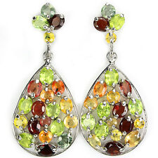 Große Ohrringe Saphir gelb orange grün Granat Peridot 925 Silber 585 Weißgold