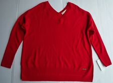 NEW Michael Kors Red Blaze 100% Cashmere V-Neck Women's Sweater Size L