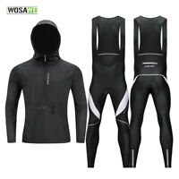 Windproof Cycling Sets Men Outdoor Sports Coat Jacket Bib Tight Pants Gel Padded