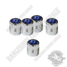 5 Chrome Billet Aluminum Swarovski® Blue Diamond Wheel Valve Stem Dust Caps