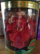 1993 HAPPY HOLIDAYS BARBIE #10824 POINSETTIA RED BALLGOWN 1ST IN SERIES NIB MINT