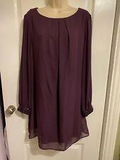 F&F Purple long sleeved 2 layer dress - Size 20