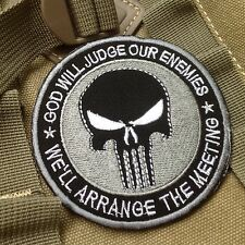 GOD WILL JUDGE OUR ENEMIES PUNISHER INFIDEL MORALE Hook &Loop PATCH/GRAY