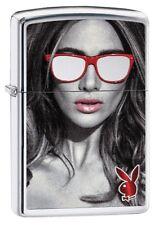 "Zippo ""Playboy Glasses Bunny"" Polished Chrome Color Lighter * New *"