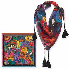 Laurel Burch 100% Poly Rayon Square Scarf Cats In Garden Floral Neck Scarf New