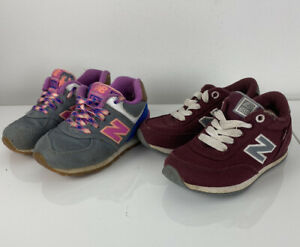 Lot Bundle of 2 Baby Toddler New Balance 501 and 574 canvas sneakers, 7