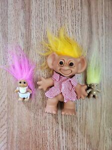 Vintage Troll Dolls Lot Of 3 Uneeda Dolls Co Inc.