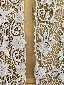 Pair antique French FILET LACE ecru cotton PANELS curtains c1920