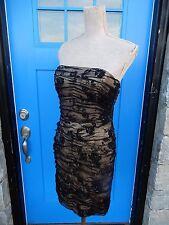 RICKIE FREEMAN TERI JON Sz 8 Black & Nude Lace Mesh Beaded Silk Cocktail Dress