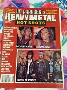 HIT PARADER'S HEAVY METAL Magazine 1989 GUNS-N-ROSES MOTLEY CRUE TRIPLE POSTERS