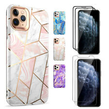 For iPhone11ProMarble Case ,Shock absorbent TPU Soft Cover+Screen Protector