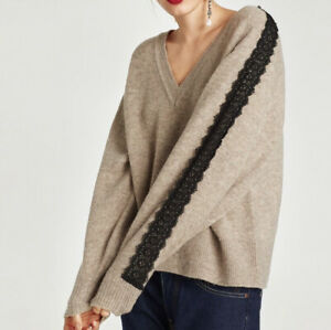 Zara Womens Medium Tan Black Lace Trim V Neck Oversized Sweater Blogger