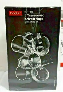 EX DISPLAY Bodum 6 x Glass Tea/Coffee Mugs With Bistro Mug Holder/Tree Rack