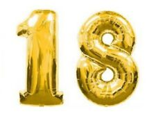 "40"" Large 18 Gold Number Balloons 18th Birthday Anniversary Foil Float Helium"