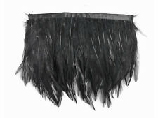 1 Yard - Black Rooster Neck Hackle Feather Trim