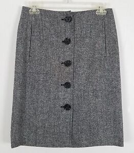 BANANA REPUBLIC button front career gray and black A-line skirt size 2
