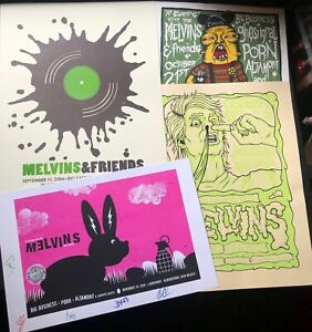 MELVINS | FOUR (4x) Silkscreened Gig Posters Lot #3 | 2006 | SIGNED BY BAND