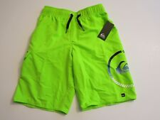 Quiksilver Big Boys L Board Swim Trunks Shorts Mesh Lined Neon Lime Green