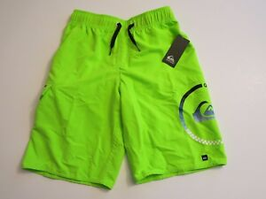 Quiksilver Big Boys L Board Swim Trunks Shorts Mesh Lined Neon Lime Green