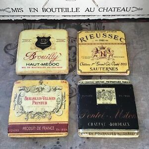 French Wine Label Tile Coasters Boxed Set of 4 Vintage Shabby Chic Style