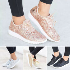 Womens Flat Lace Up Glitter Sparkly Trainers Pumps Sport Shoes