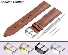 Fits BULOVA Light Brown Genuine Leather Watch Strap Band For Clasp Buckle Pins