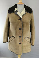 VINTAGE 1970's BRITISH MADE LIGHT BROWN SUEDE LEATHER SHEEPSKIN LINED COAT 36 IN