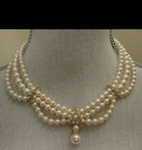 Vintage Bridal Pearl,Rhinestone Necklace Wedding Bridesmaids Gift  Jewellery's