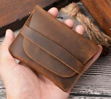 Handmade Genuine Leather Slim Wallet Small Credit Card Holder Purse Coins bag