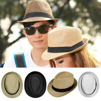 Men Women Summer Beach Trilby Fedora Straw Panama Wide Brim Beach Cap Sun Hat