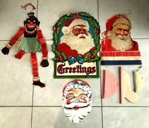 VINTAGE 1950's-60's VARIOUS LARGE PAPER CHRISTMAS DECORATIONS INC AFRICAN