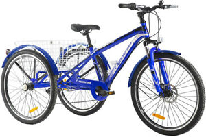 Adult Mountain Tricycle 7 Speed 3 Wheels 24'' Cruiser Trike Bike w/ Large Basket