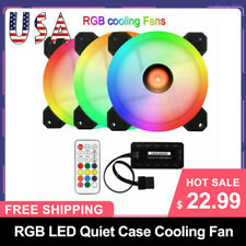 3 PACK RGB LED Quiet Computer Case PC Cooling Fan 120mm w/ Remote Control US⭐