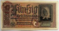 GERMANY. Genuine Banknote FUNFZIG Reichsmark (1939-45) WWII