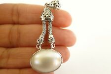 Oval White Mabe Pearl Solitaire 925 Sterling Silver Dangle Pendant