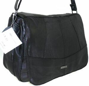 Ladies Women Lorenz Real Leather Cross Body Multi Pocket Messenger Shoulder Bag