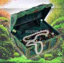 Air Bubble Green Treasure Chest with Aquarium Fish Tank Decoration New US