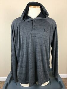 Under Armour Heatgear Gray 1/4 Snap Hoodie Shirt Long Sleeve Loose Men's Size XL